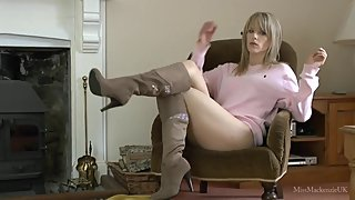 Hottie teasing in suede boots