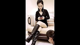 Chinese femdom boot worship pov queen dominatrix fetish