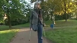 German RAK Amputee on Crutches