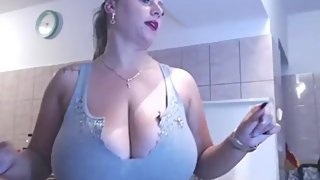 Romanian blonde Angi with huge boobs