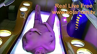 TaliaVaiolet in real public solarium She masturbates and fingers herself