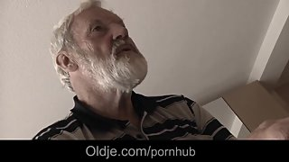 Nasty Tina fucks oldman and eats his juice to cure her horny pussy