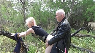 Grandpa got sucked and then fucked Angel outdoor in public place...