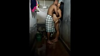 Indian brother step-sister bathing and fucking together at home alone